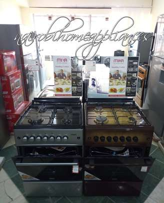 Mika Standing Cooker, 60cm X 60cm, All Gas, Gas Oven, Silver/Brown