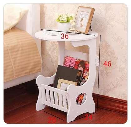 Multi-purpose bedside/balcony/magazine holder/coffee/living room white round table image 4