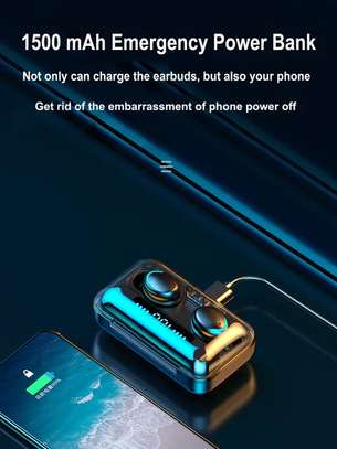 F9-5 8D HiFi Stereo True Wireless Earbuds with HD Mic, Extraordinary Bass Music, IPX7 Waterproof Headsets with power bank image 3