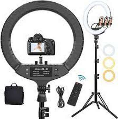 """18"""" Selfie Ring Light with Tripod Stand, Flexible Phone Holder and Carry Bag image 1"""