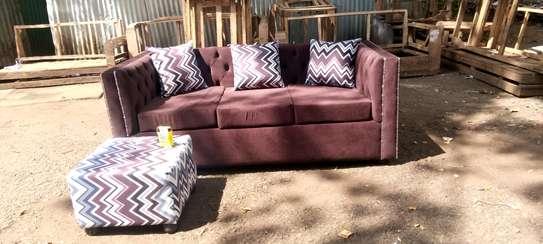 Stylish Contemporary Quality 3 Seater Sofa + Ottoman image 1