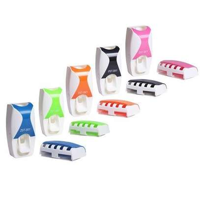 Automatic Toothpaste Dispenser Set with 5 Toothbrush Holder(Black) image 3