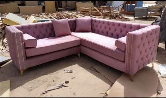 Blush pink  5 seater Chesterfield l-shaped image 1