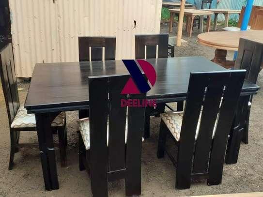 Black rectangular 6 seater dining table sets image 6