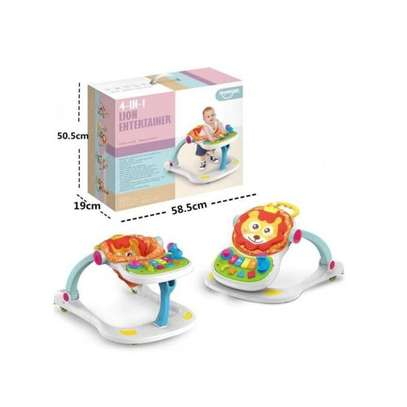 multifunctional musical lion four in one baby walker- white image 5