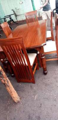 6 Seater Mahogany Framed Dining Table Sets. image 5