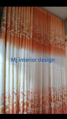 ORANGE FLOWERED CURTAINS image 1