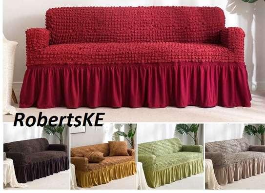 elastic seat sofa cover 5 seater maroon image 2