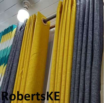 yellow and grey linen  curtain image 1