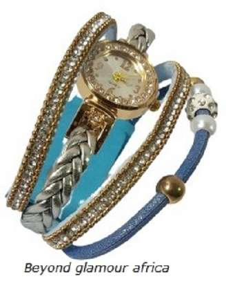 Blue Leather Watch Bracelet image 2