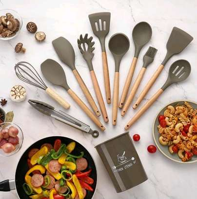12pc Silicon cooking tools/Nonstick serving spoons/Cooking spoons image 4