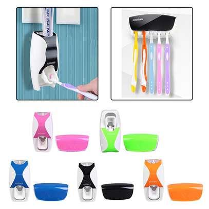 Toothpaste Dispenser & Toothbrush Holder Set Random 1 Pc image 2