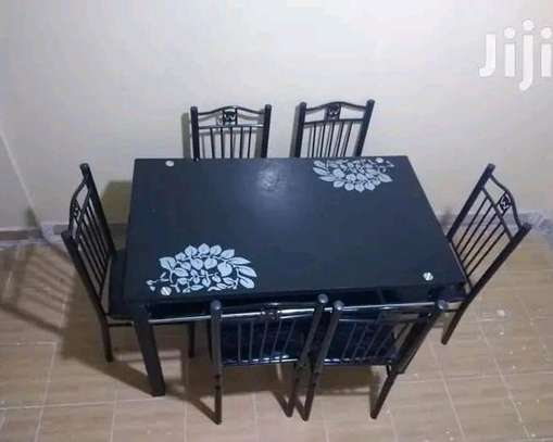 Top banquet dining table with 6 solid chairs F11Y image 1