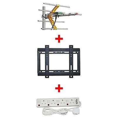 "Digital Aerial + 14""-42"" TV wall bracket Free 4 way extension socket image 1"