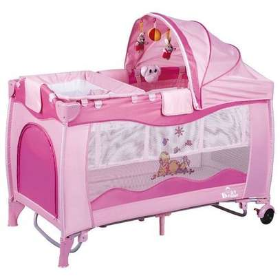 Baby Playpen Bed Baby Crib with Changing Table - Pink image 1