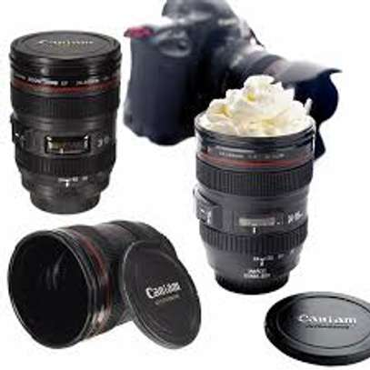 Camera Lens Coffee Mug With Lid, Photo Coffee Cup, Stainless Steel Thermos Lens Mug Leak Proof For Photographer Lovers Present image 1