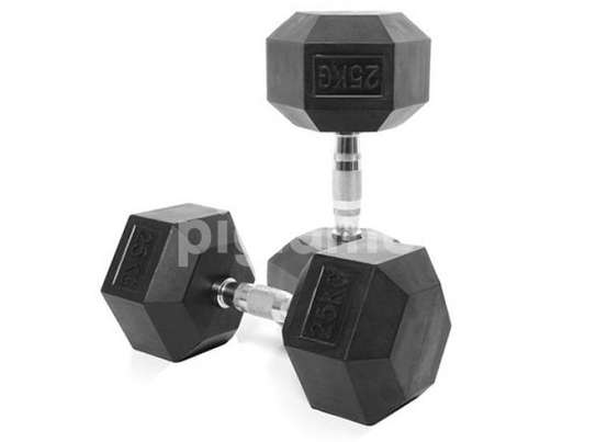 (Hexagon Shaped and Rubber Round Dumbbells Gym Fitness image 1