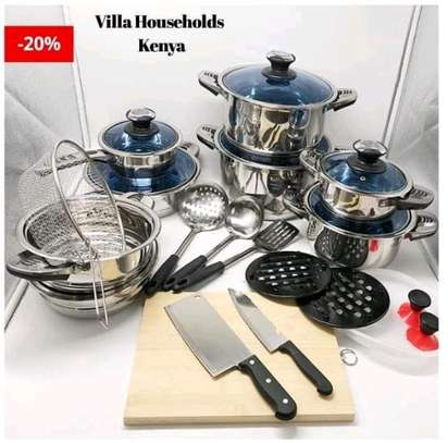 25pcs Harraz Interior stainless steel Cookware set image 1