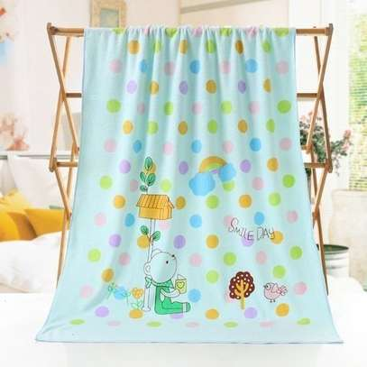 Baby Towel Cotton Cartoon Animal Baby Bath Towel Bathrobe for Kid Soft Breathable Towels Infant Shower Product- BLUE. image 1