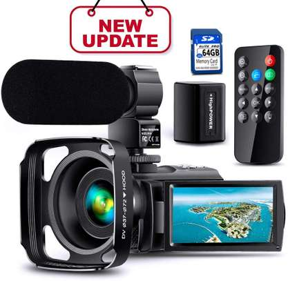 【Full Upgrade】Ultra HD Video Camera Camcorder with Rechargeable Microphone 1080P 42M Vlogging Camera YouTube Digital Camera IPS Touch Screen Remote Control IR Night Vision, Lens Hood, Battery Charger image 1