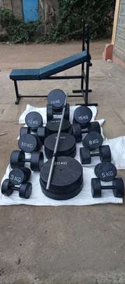 Gym dumbbells and gym plates