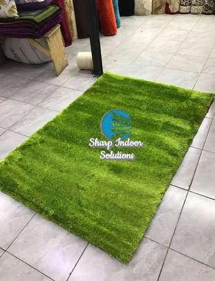 Green fluffy soft carpets image 1