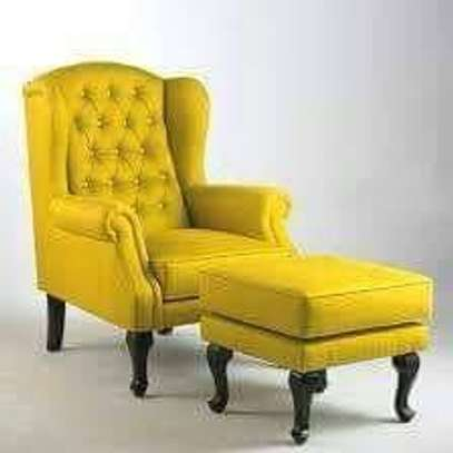 Yellow wing chair with foot rest image 1
