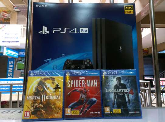 PS4 PRO 1TB 3 GAME BUNDLE - MK11,SPIDERMAN,UNCHARTED