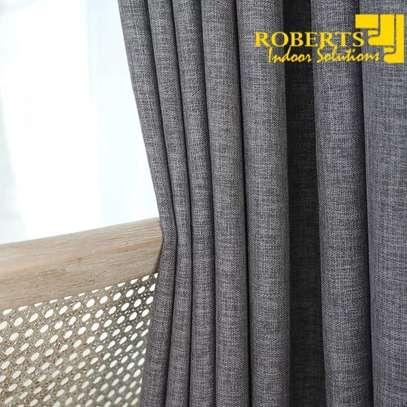 Light grey heavy fabric linen curtain image 1