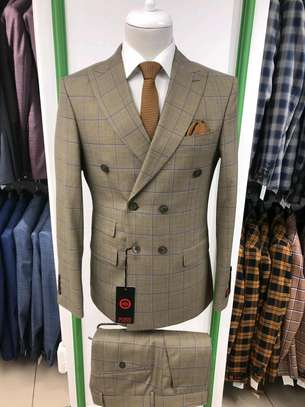 Brown beige checked double-breasted formal wear image 1