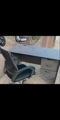 Ergonomic design headrest high back office chair plus a modern computer desk image 1
