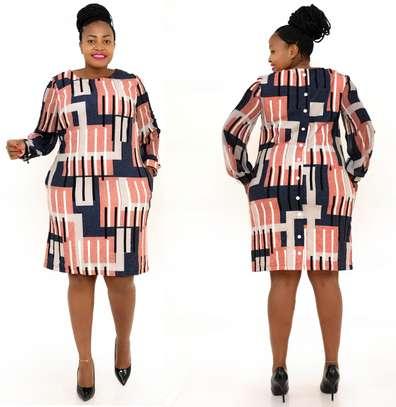 NAVY/PEACH SHIFT DRESS image 1