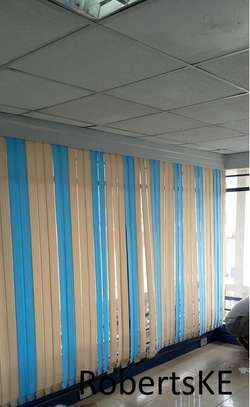 cream and blue blinds image 1