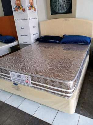New Spring Bed set Queen size (5 by 6) 10 inches thick; Base/ Bed, mattress, headboard. image 2