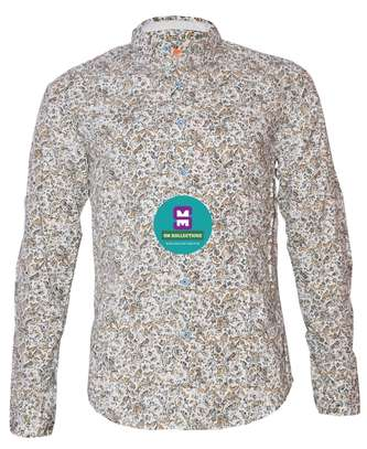 White Floral Long Sleeved Shirts