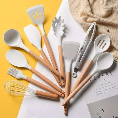 12pcs Silicon spoon set With wooden Handle image 2