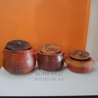 Pure Clay Cooking Serving Pots 3pcs Set +Jiko image 1
