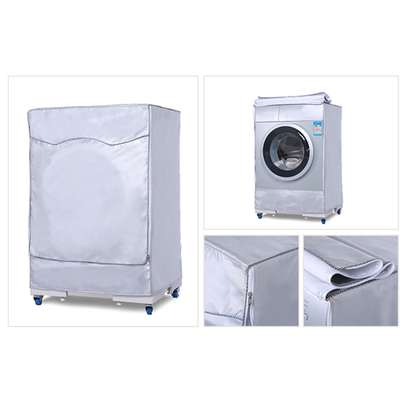 Silver Washing Machine Cover Waterproof washer Cover for Front Load Washer/Dryer image 1