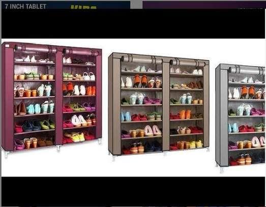Double column 36 pairs shoe rack image 1