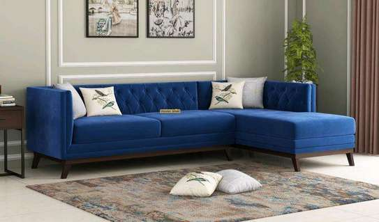 Modern five seater blue tufted L shaped sofas for sale in Nairobi Kenya/Sofas for sale in Nairobi Kenya/Sofas and Sectionals Kenya image 1