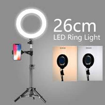 Photography Led Tiktok Ring Light 26cm Metal Frame Dimmable With 8 Ft Tripod image 1