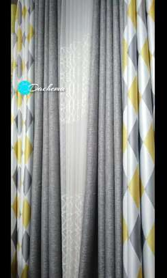 grey double sided curtains image 1