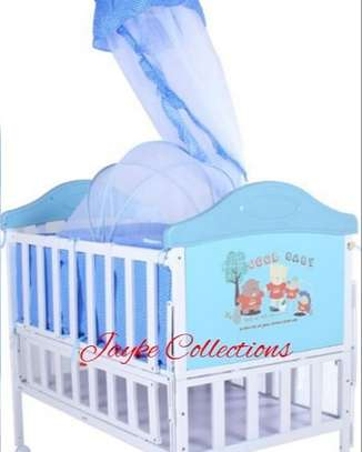Metallic baby cots available in color brown, blue & pink image 3