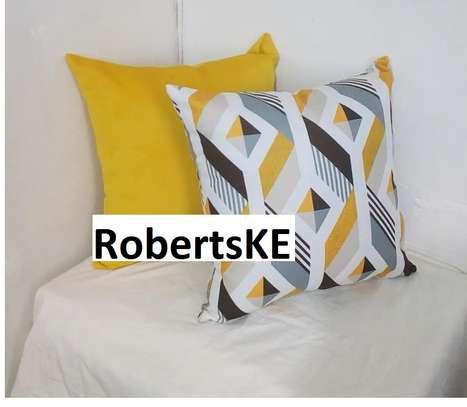 yellow with diamond print throw pillows image 1