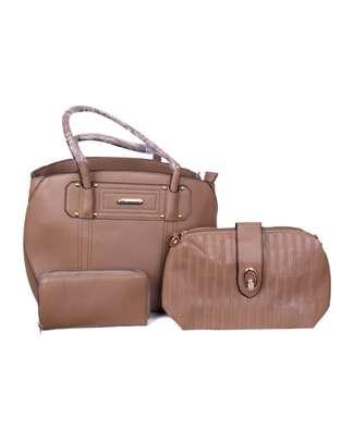 Stylish 3 piece Brown Hand Bag image 1