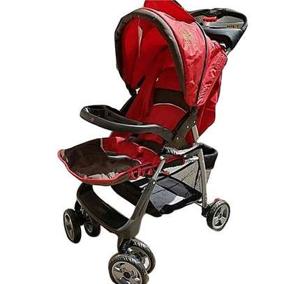 Baby Stroller/ Foldable Pram Portable Baby Stroller With Universal Casters- Red image 1