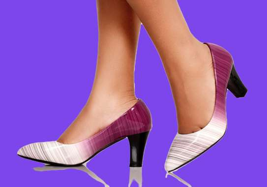 Pink/White Women's Chunky Block High Heels Pumps Closed image 2