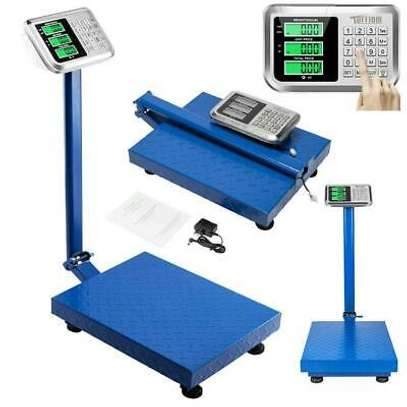 300kg digital platform weighing scale with checkered steel plate image 1