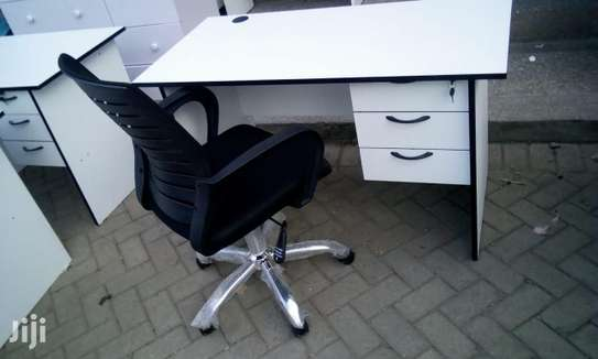 1.2 Metre White Desk and an Office Chair image 3