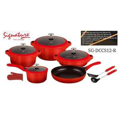 Signature 12PCS Granite Die Casting Non-stick Cookware Set - Red image 1